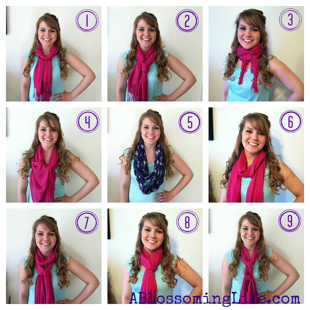 A women showing how to wear a scarf 9 different ways