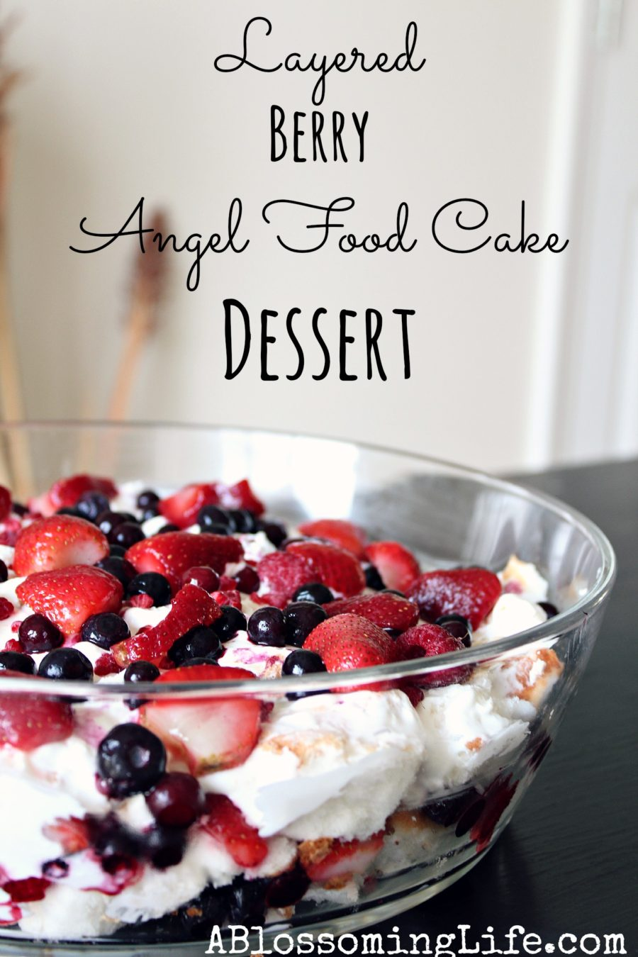 Layered angel food cake dessert