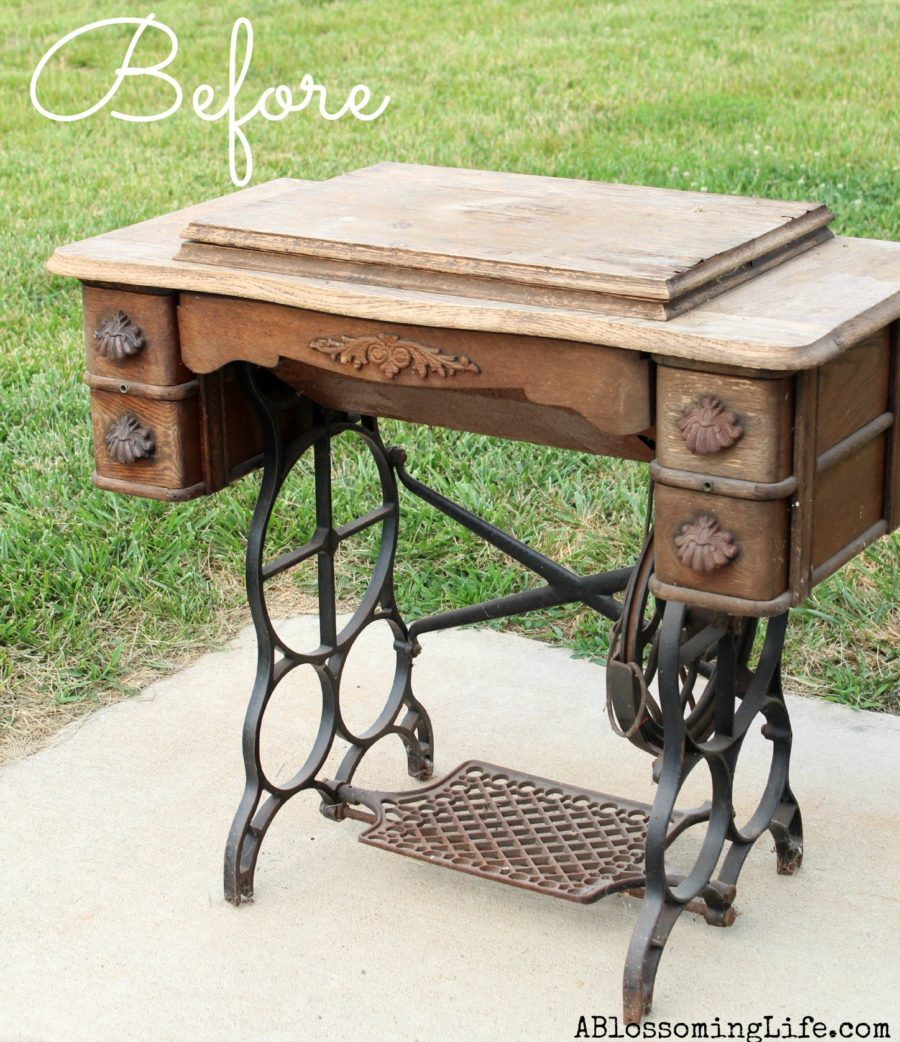 DIY Old Sewing Machine Redo to Nightstand