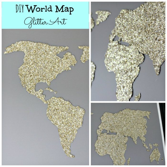 Diy world map glitter art a blossoming life diy world glitter map collage gumiabroncs Images