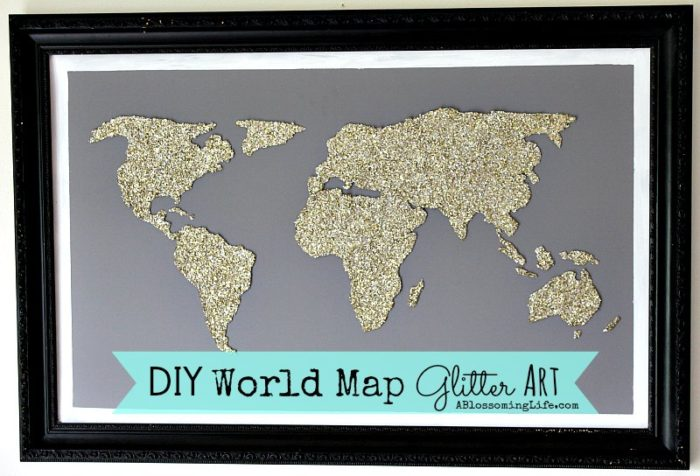 DIY World Map Glitter Art10