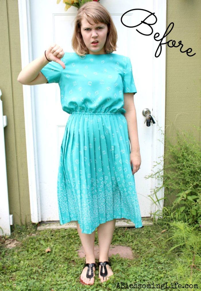 80's Pleated Dress to Fabulous Skirt DIY - A Blossoming Life