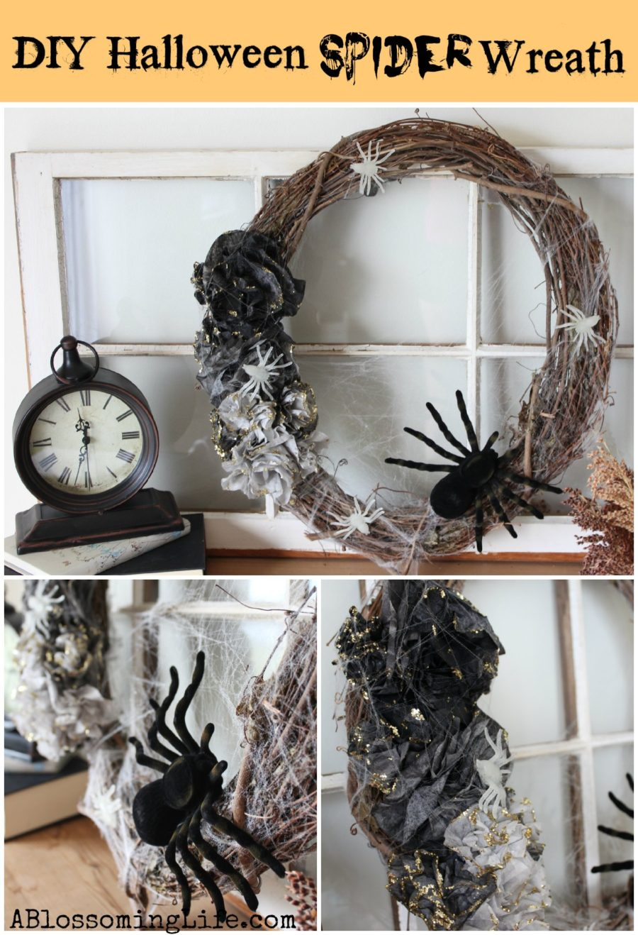 Diy halloween wreath - Diy Halloween Spider Ombre Wreath