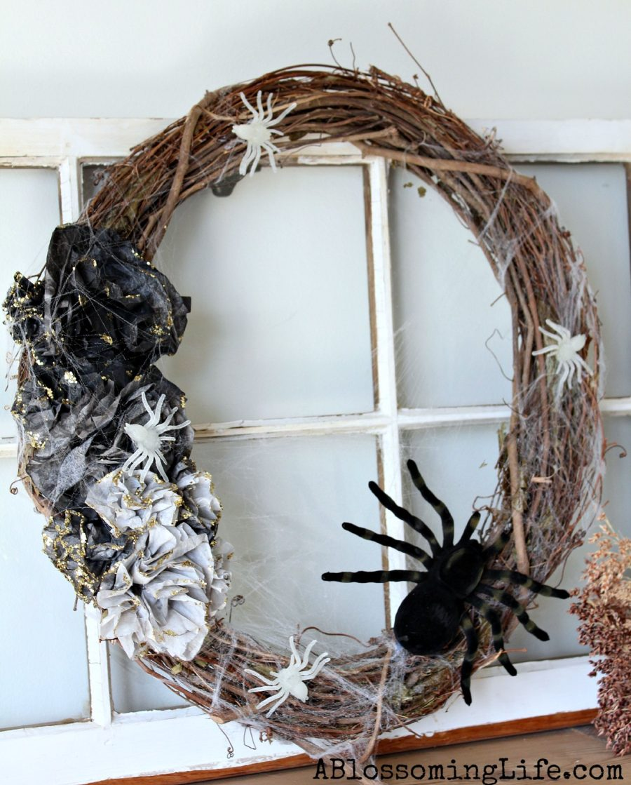 Diy halloween wreath - Diy Ombre Halloween Spider Wreath
