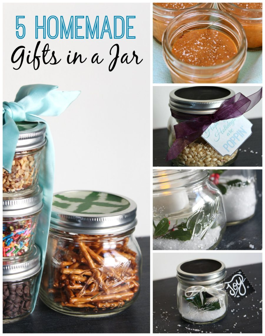 5 Homemade Gifts in a Jar Collage