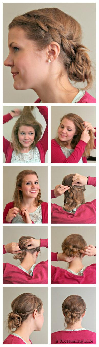 DIY Easy Braid Updo Tutorial by A Blossoming Life
