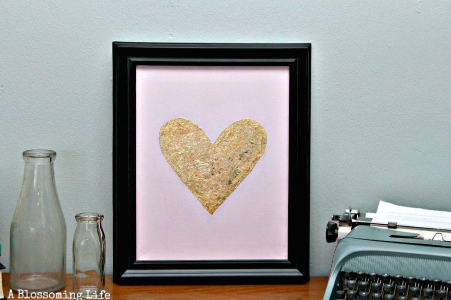 Gold Leaf Heart Art
