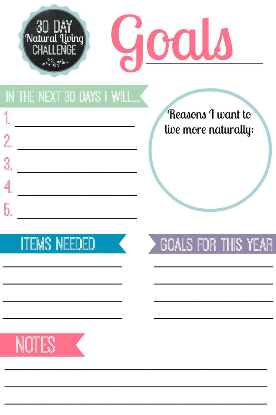 30 Day Natural Living Challenge: Setting Goals