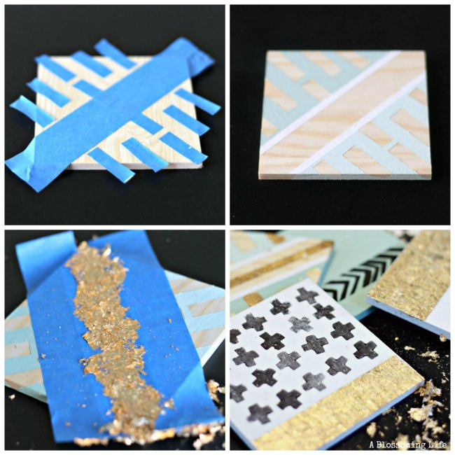 DIY Gold Leaf Coasters Collage