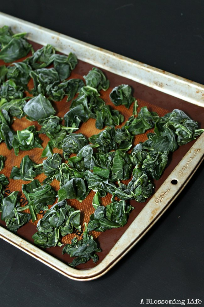 frozen kale on a cookie sheet