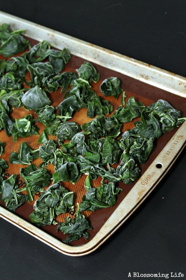 frozen kale on a cookie sheet