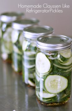 4 jars of homemade refrigerator dill pickles lined up on a stainless steel counter