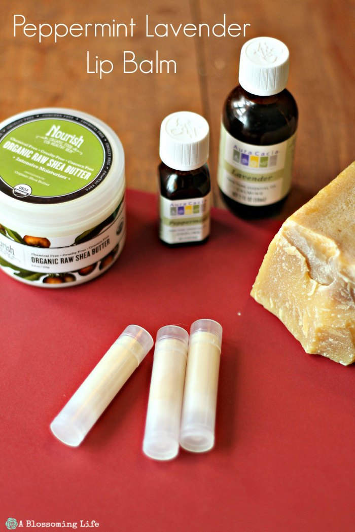 homemade peppermint lip balm with essential oils, beeswax, and shea butter - DIY Christmas Gifts
