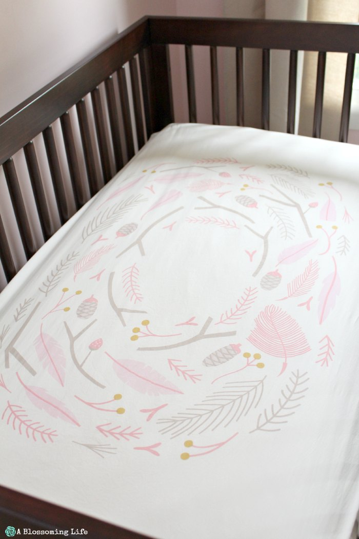 Woodland Themed Girl's Nursery- Land of Nod Bedding