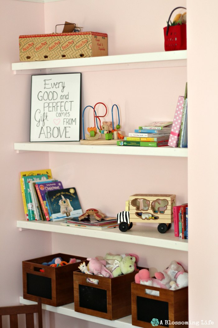 Woodland Themed Nursery- book shelves