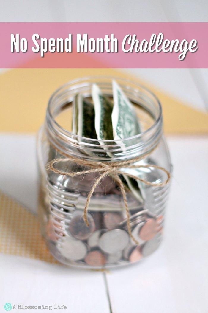 Money in a jar with twine around it - no spend month challenge