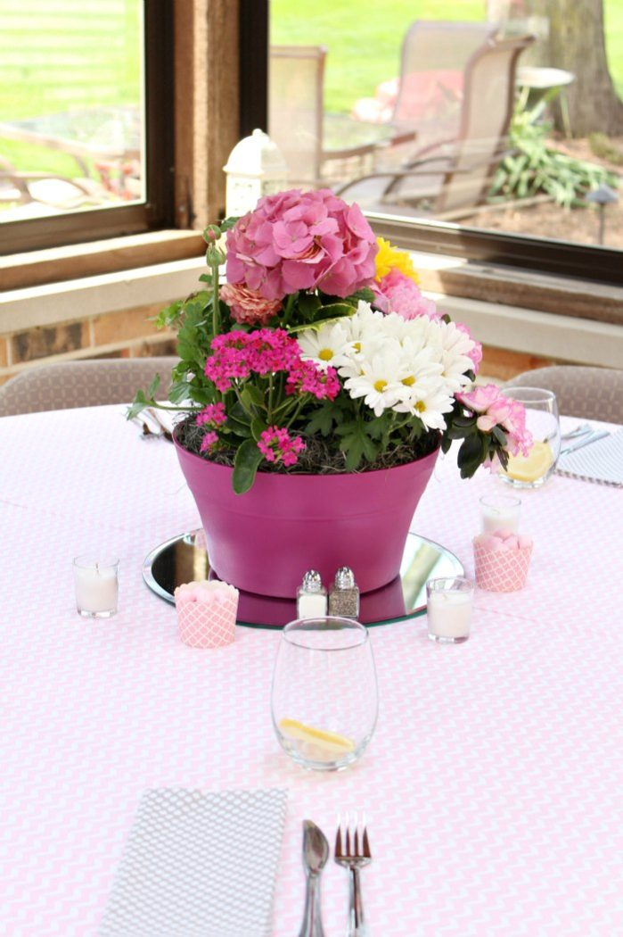 Pink and Gray Baby Shower Centerpieces