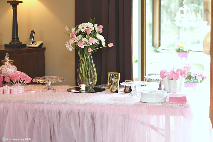 Pink and Gray Baby Shower- dessert table