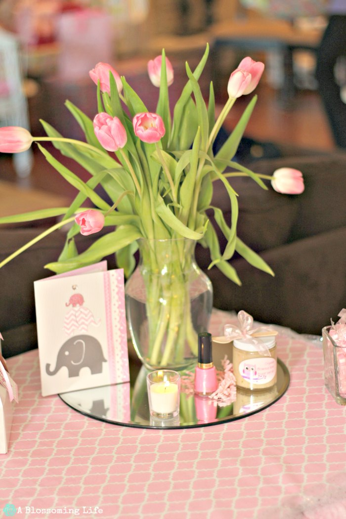 Pink and Gray Elephant Themed Baby Shower- Favors