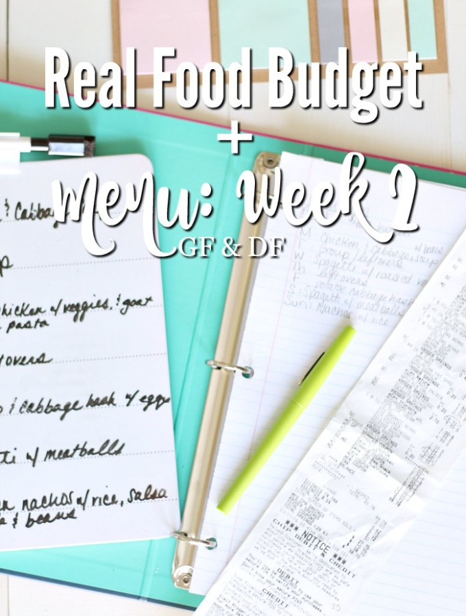 Real Food Budget + Menu Week 2 (GF & DF)