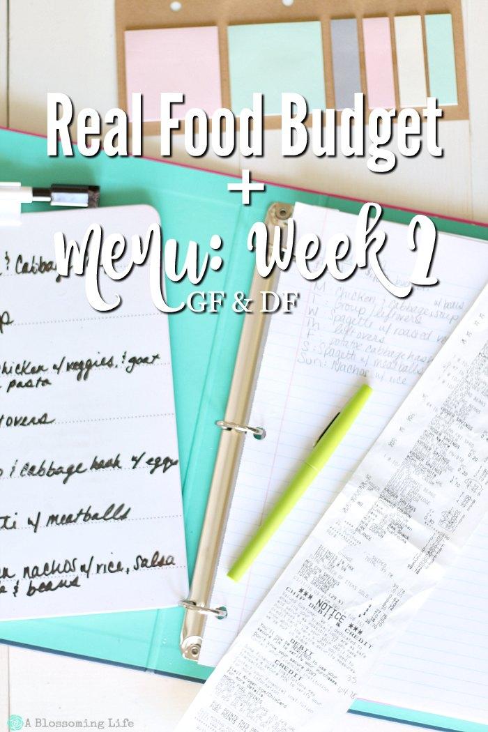 Real Food Budget + Menu Week 2 (GF & DF)