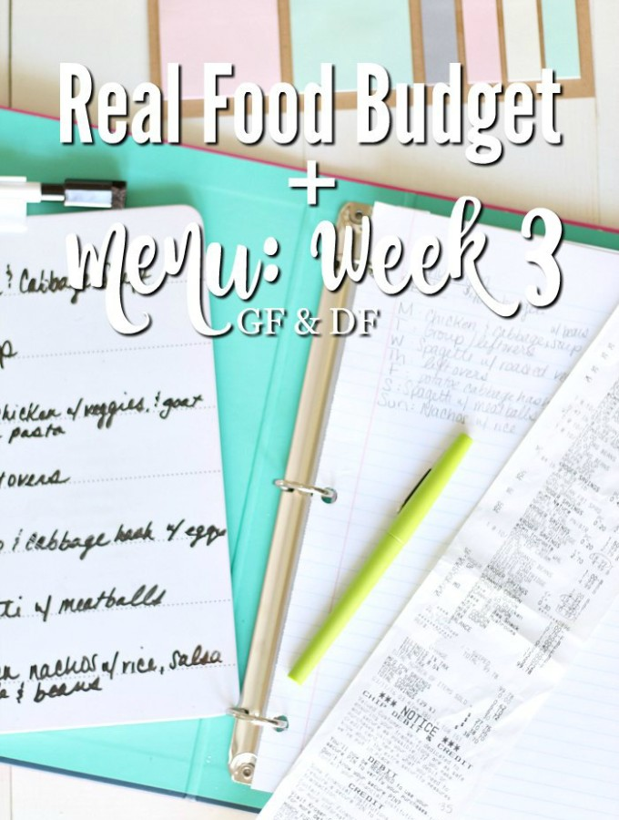 Real Food Budget + Week 3 Menu {GF &DF}