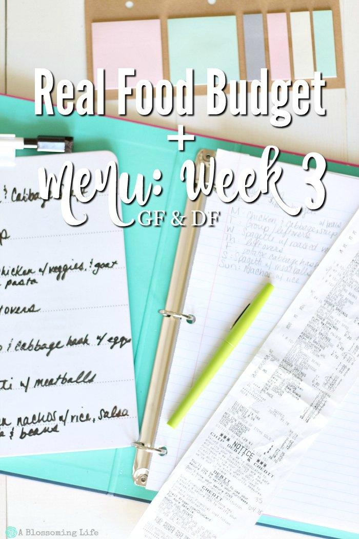 Real Food Budget + Menu- Week 3 GF:DF