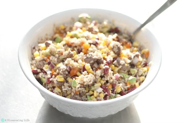 Steak and Rice Salad in a large bowl