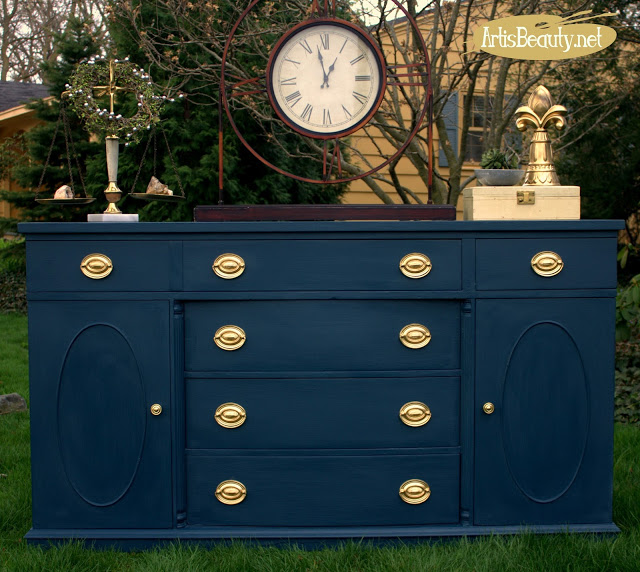 steel blue classic painted navy and gold brass buffet empire makeover