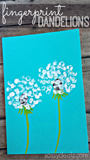 fall activities for preschoolers - fingerprint dandelion painting