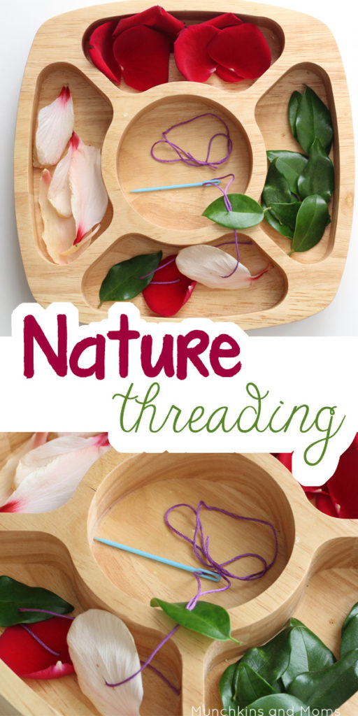 wooden bowl of leaves and petals with string and needs for the perfect fall activities for preschoolers