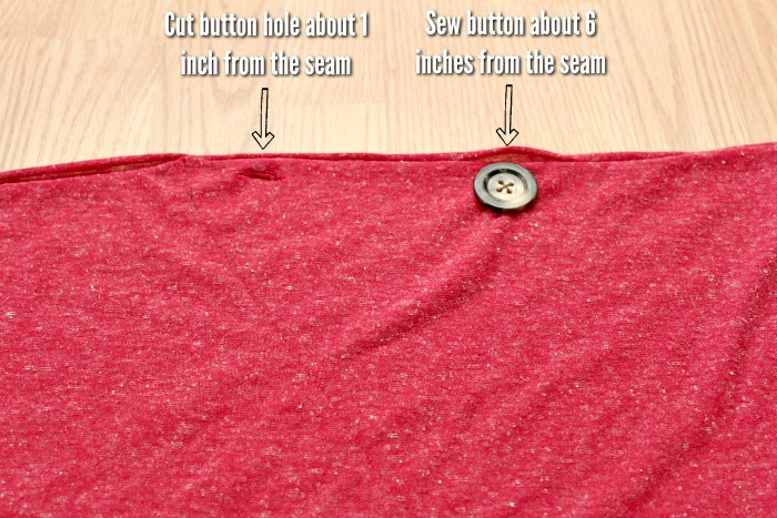directions on where to place button and button hole on a DIY nursing scarf