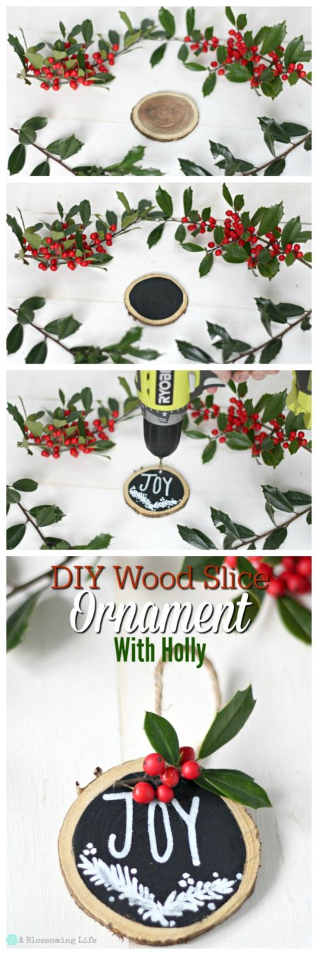step by step on how to make DIY wooden ornaments - top picture is a raw wood slice, second picture is a woodslice with middle painted black, third picture has the wood slice that has the middle decorated, last picture has completed wooden ornament slice.