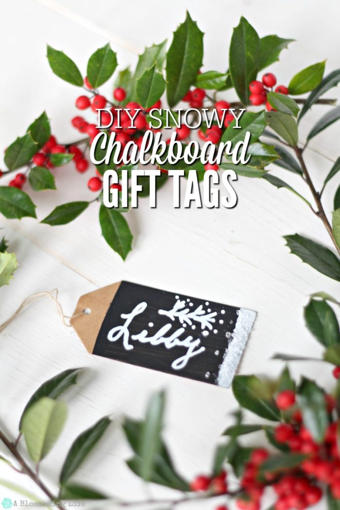 DIY Snowy Chalkboard Gift Tags