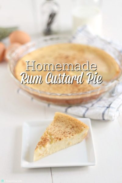 slice of creamy custard pie on a white plate with a whole pie on a white and blue towel in the background.