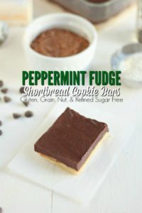 Peppermint Fudge Topped Shortbread Cookie Bars {Gluten, Grain, Nut, & Refined Sugar Free}