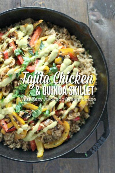 Fajita Chicken and Quinoa Skillet With Easy Avocado Cream Sauce