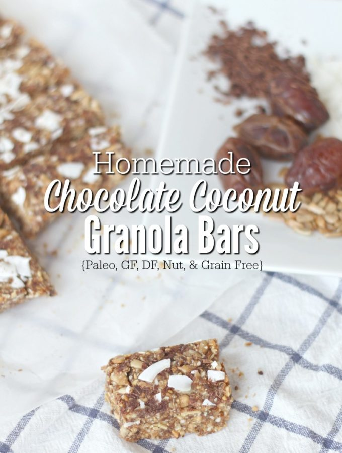 Homemade Chewy Chocolate Coconut Granola Bars {Paleo, GF, DF, & Nut Free}
