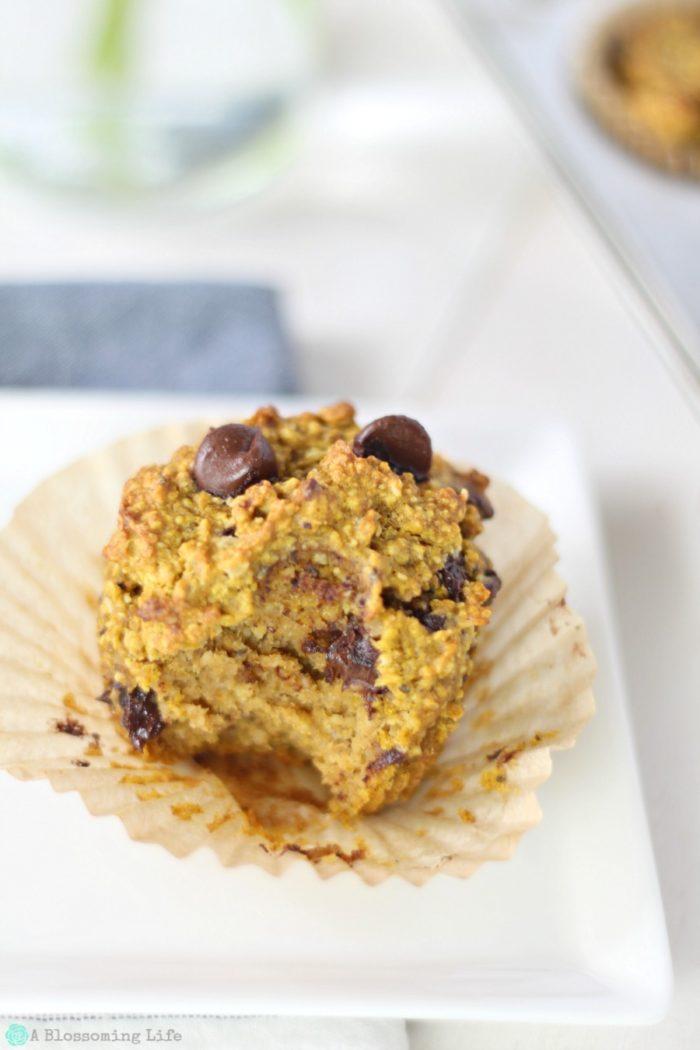 gluten free pumpkin muffin with a bite taken out
