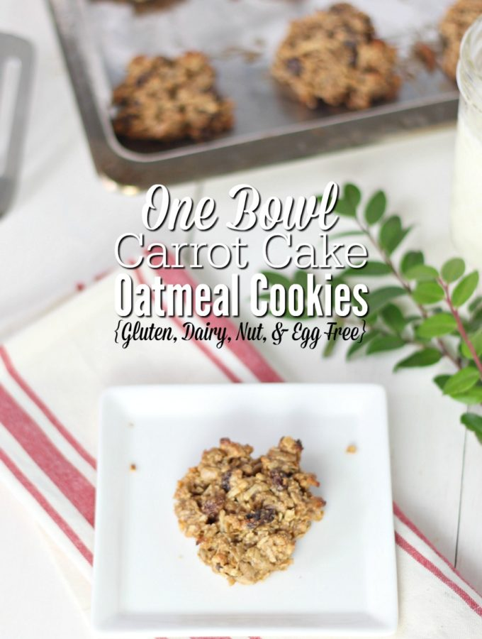 One Bowl Carrot Cake Oatmeal Cookies {Gluten, Dairy, Nut, and Egg Free}