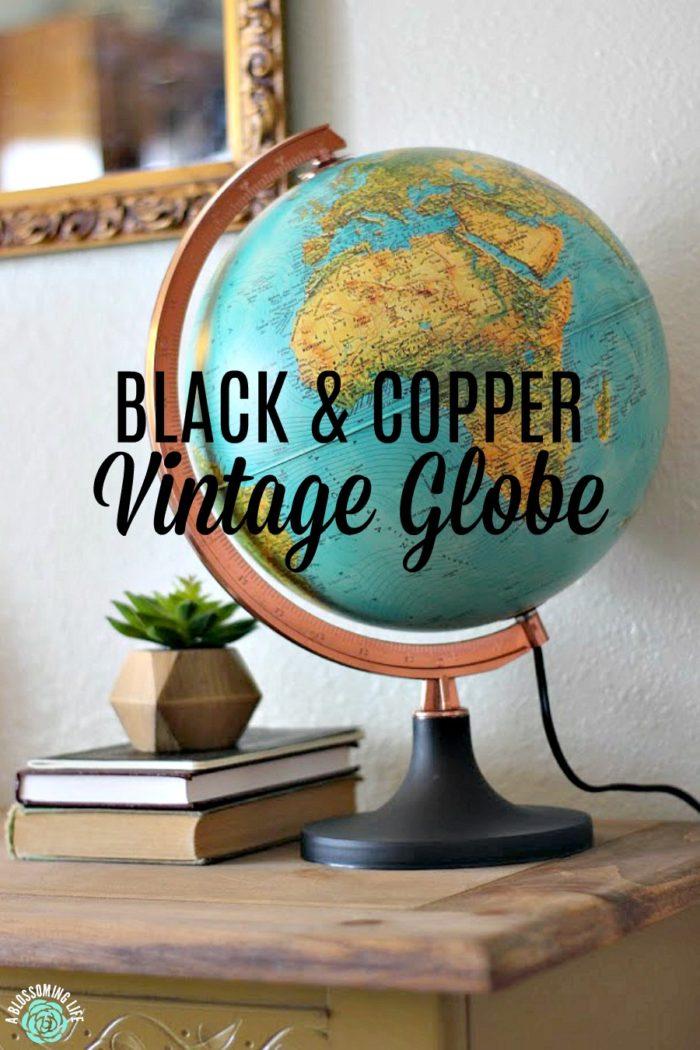 Black & Copper Vintage Globe