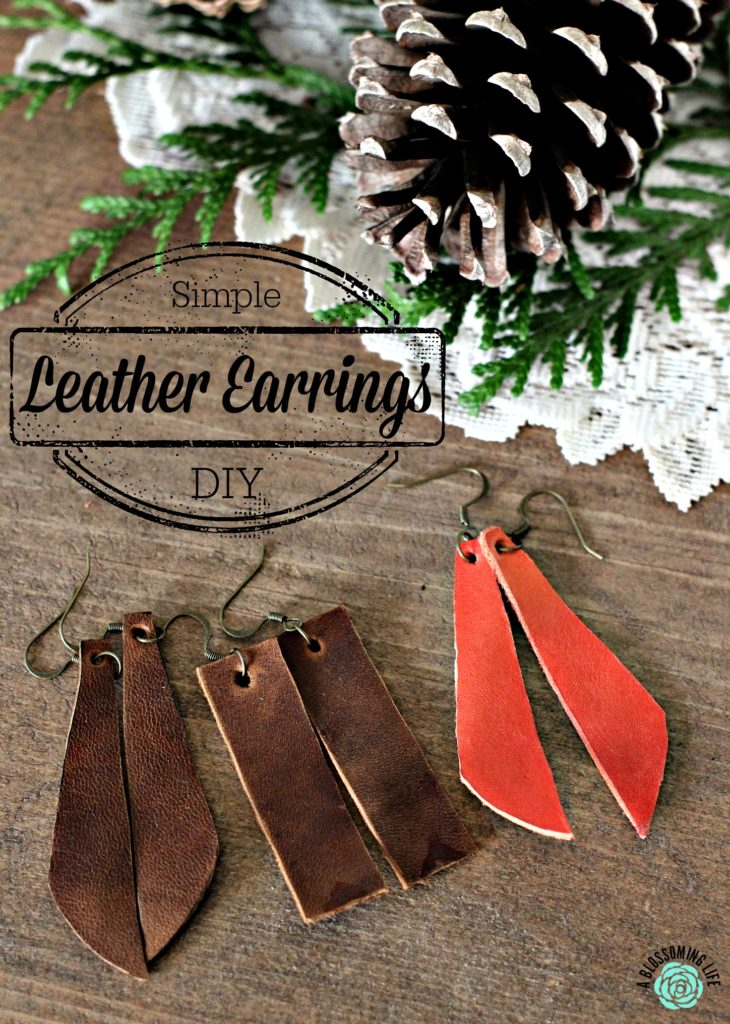 three pairs of DIY leather earrings with a lace doily and pine cone behind them
