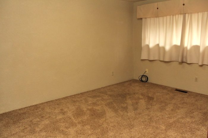 before room shot of dark walls and dark carpet with old drapery