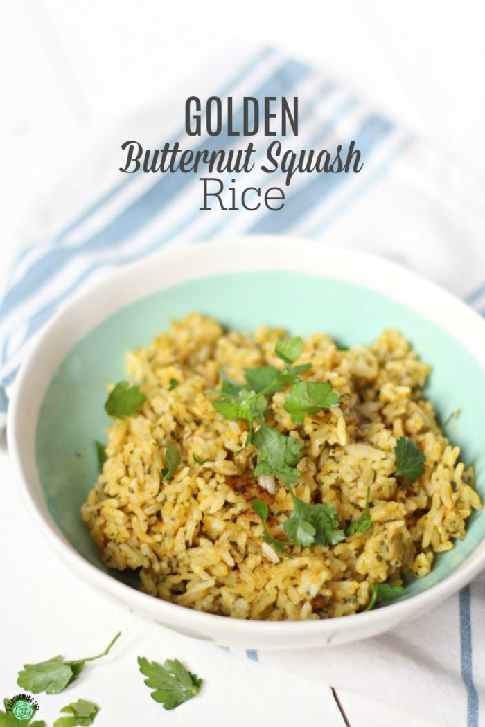 Creamy and buttery butternut squash rice is the perfect simple side dish to any meal and is only four ingredients!