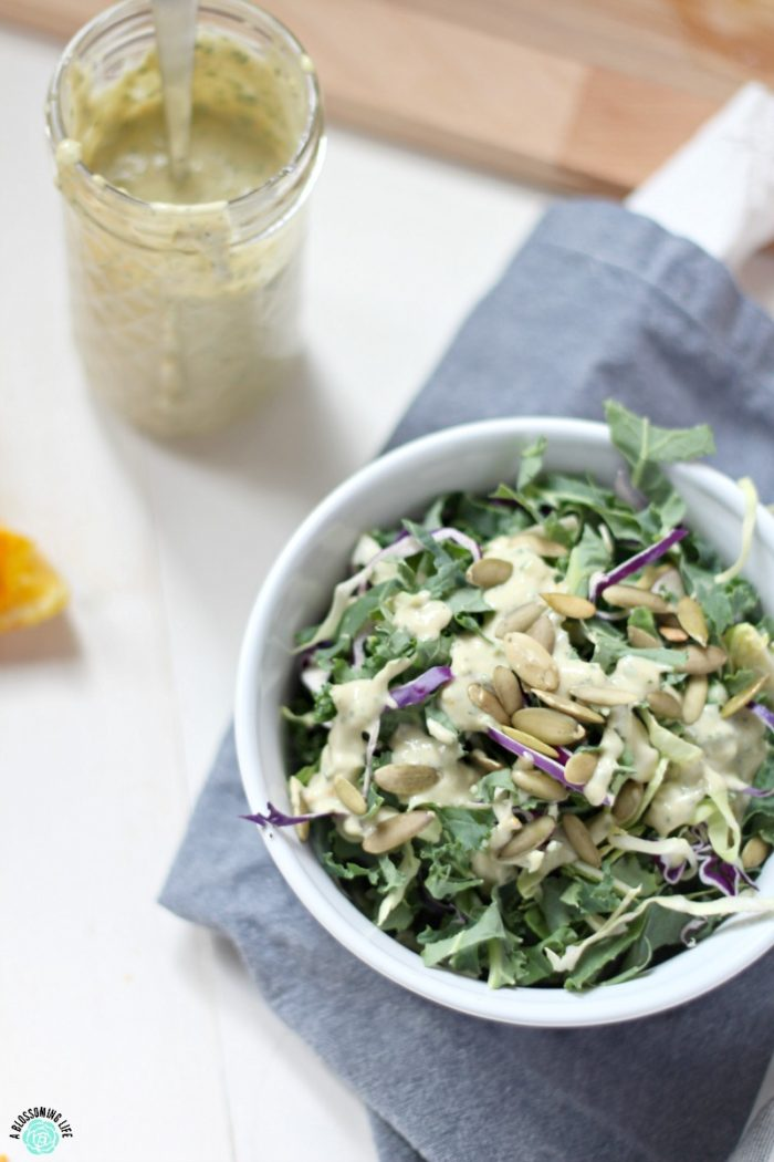 This Orange Goddess Dressing gives a new twist to traditional goddess dressing with a hint of fresh orange juice and ginger. Orange Goddess Dressing is a punch of flavor to your favorite salad.
