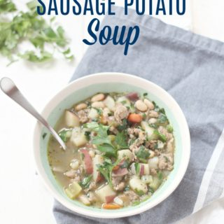 This hearty sausage potato soup is a delicious, healthy, and high protein meal that will satisfy on a cold chilly night... or anytime.