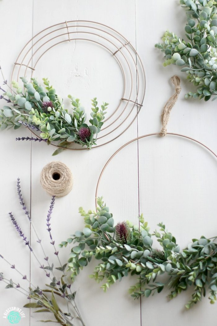 DIY Wreath on a wire wreath with twine to make a perfect DIY Christmas Gift