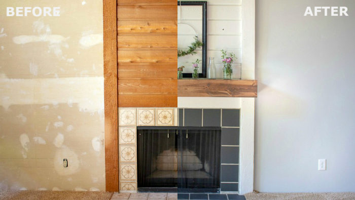 Excellent How To Paint Fireplace Tile Diy Fireplace Makeover A Download Free Architecture Designs Ferenbritishbridgeorg