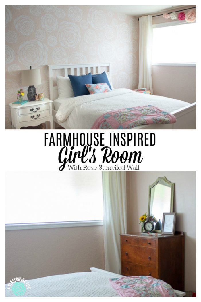 two pictures of pink girls room with stenciled flower wall