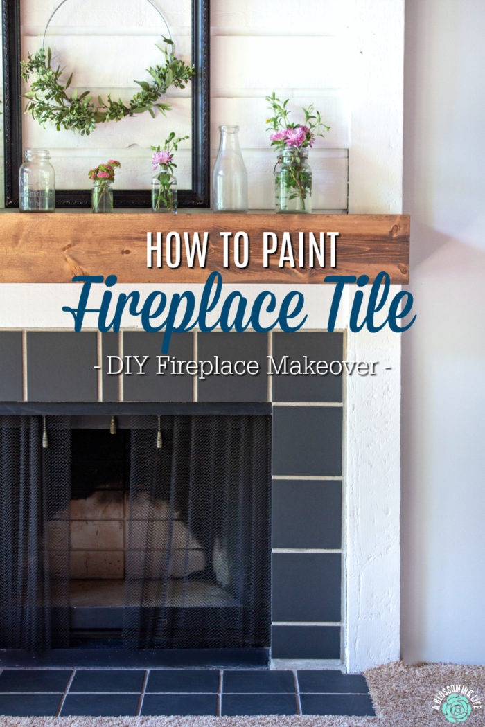 How To Paint Fireplace Tile Diy Fireplace Makeover A Blossoming Life